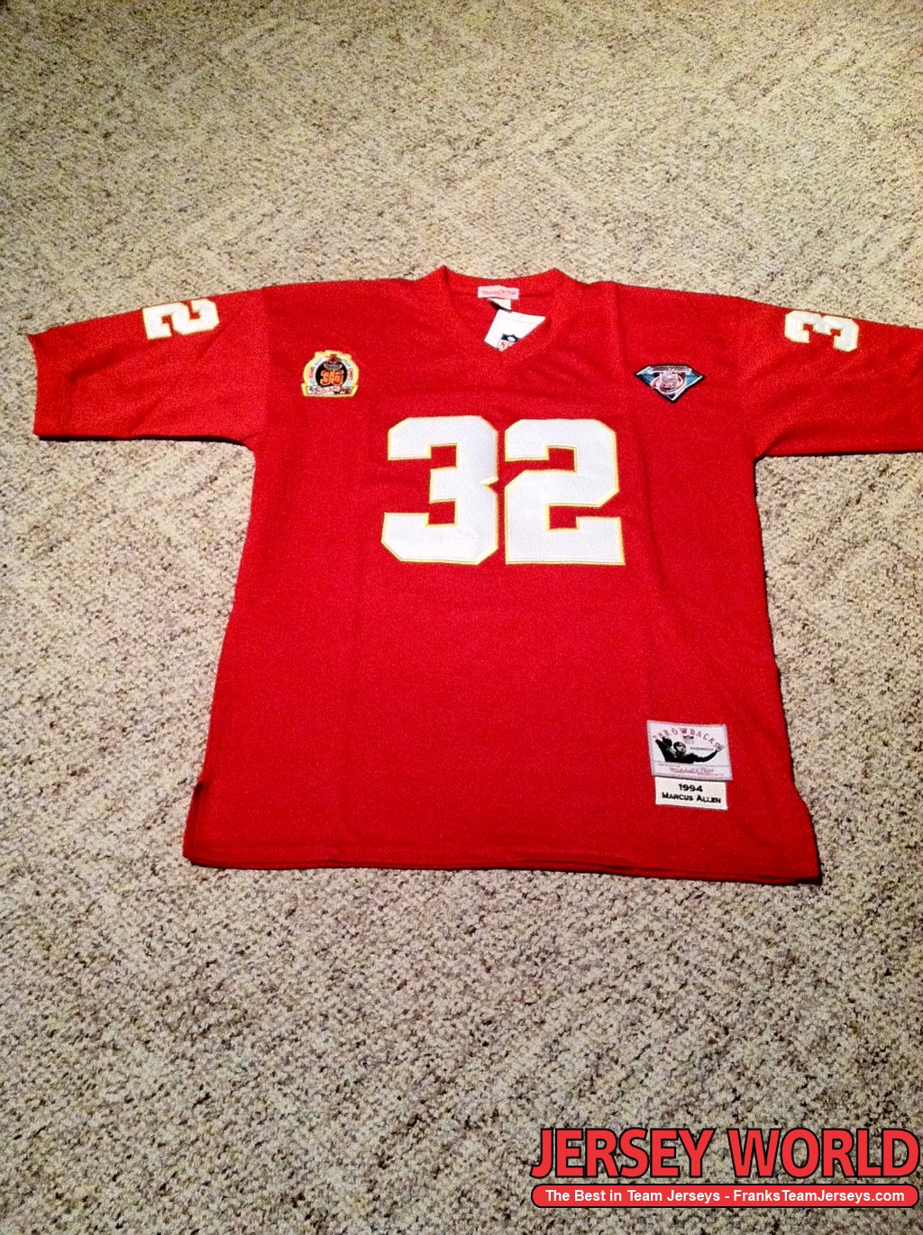 Nice Kansas City Chiefs 32 Marcus Allen Red Throwback By M&N 1994  for cheap